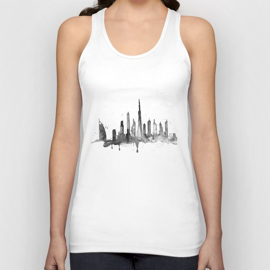 Dubai, black and white art Unisex Tank Top