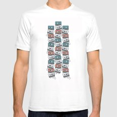Cassette Tape Pattern White Mens Fitted Tee SMALL
