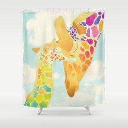 Shanti Sparrow: Harriet & Henry the Giraffes Shower Curtain