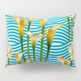 Calla Lilies  Blue Rippling Water Graphic Art Pillow Sham