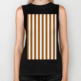 Narrow Vertical Stripes - White and Brown Biker Tank