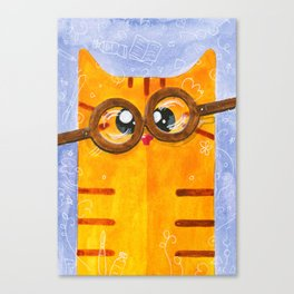 Funny Yellow Nerd Cat Canvas Print