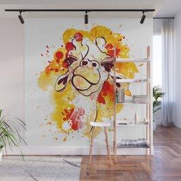 Orange watercolor and doodled Giraffe Wall Mural