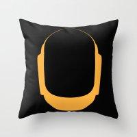 deadmau5 Throw Pillows featuring Daft Punk Guy Manuel Helmet by Alli Vanes