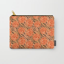 Orange roses on tiger background . Carry-All Pouch