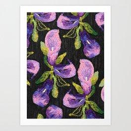 Embroidered callas Art Print