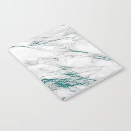 Gray Marble Aqua Teal Metallic Glitter Foil Style Notebook