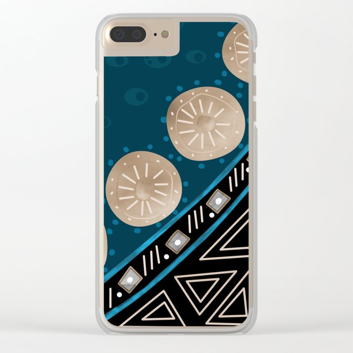 Abstract pattern Black and blue . Clear iPhone Case