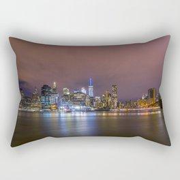 Downtown Manhatten Skyline at Night Rectangular Pillow