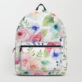 Blush pink watercolor elegant roses floral Backpack