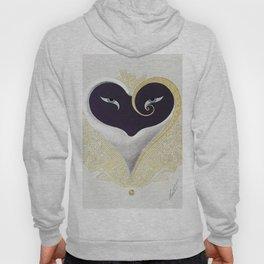 """Black & Gold Filigree Heart"" Design Hoody"
