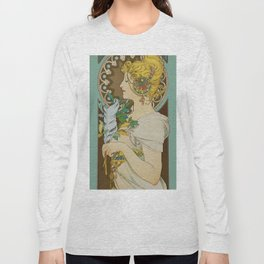 "Alphonse Mucha ""Feather"" Long Sleeve T-shirt"
