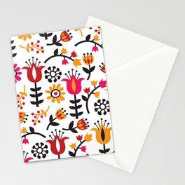 Retro Scandinavian Flowers Pattern Stationery Cards
