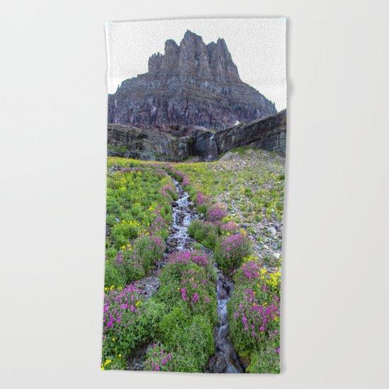 Mountain Waterfall Flowers Beach Towel
