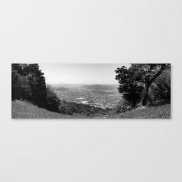 Karatsu depuis la montagne(panorama B&W version) Canvas Print