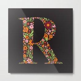 Retro Floral Letter R Metal Print