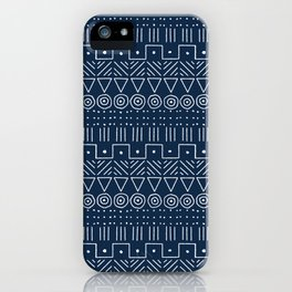 Mudcloth Style 1 in Navy iPhone Case