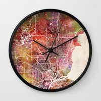 detroit Wall Clocks featuring Detroit by MapMapMaps.Watercolors