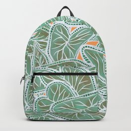 Tropical Caladium Leaves Pattern - Green Backpack