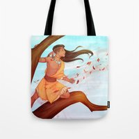 pocahontas Tote Bags featuring Pocahontas by ribkaDory