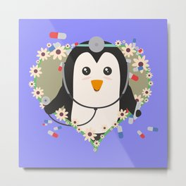 Penguin doctor with flower heart Metal Print