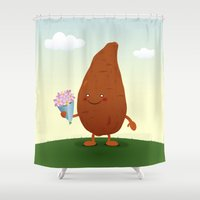 potato Shower Curtains featuring Sweet Potato by Rob Barrett — Nice Hot Cuppa