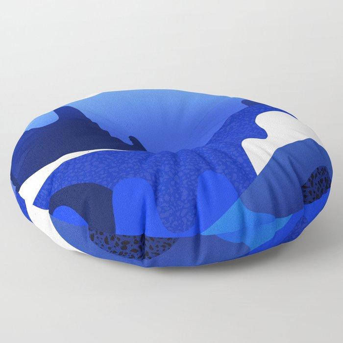 Terrazzo landscape blue night Floor Pillow