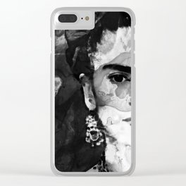 Black And White Frida Kahlo by Sharon Cummings Clear iPhone Case