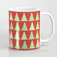 christmas tree Mugs featuring Christmas Tree by Laura Maria Designs