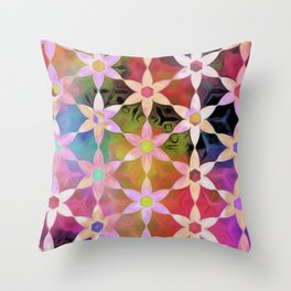 Rainbow Daisy Chain Throw Pillow