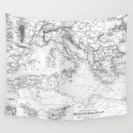 Vintage Map of The Mediterranean Sea (1891) BW Wall Tapestry