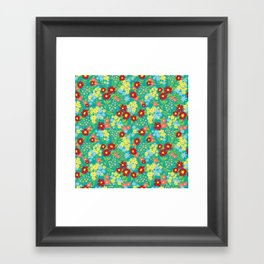 Teal Floral Pattern Framed Art Print