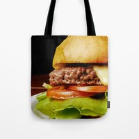 hamburger Tote Bags featuring Hamburger by Mauricio Togawa
