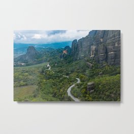 Meteora Monastery Landscape Metal Print