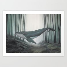 Whale in forest Art Print