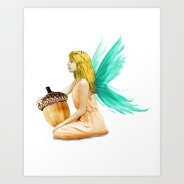 Oak Tree Fairy Holding Acorn Art Print