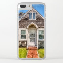 Cape Cod Cottage Watercolor Clear iPhone Case