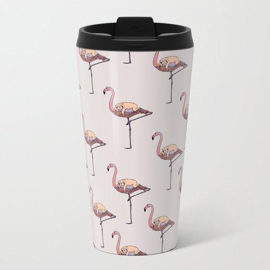Flamingo and Sloth Metal Travel Mug