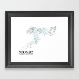 Deer Valley, UT - Minimalist Trail Art Framed Art Print