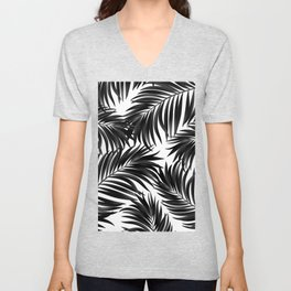 Palm Tree Fronds Black on White Maui Hawaii Tropical Graphic Design Unisex V-Neck