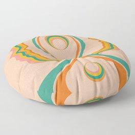 Look Within, Peachy, Mid Century Modern Art Floor Pillow