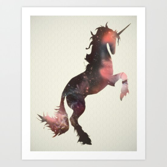 unicorn in the stars Art Print