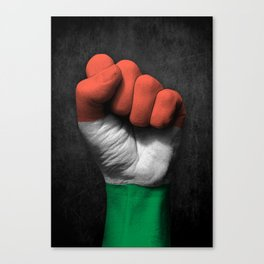 Hungarian Flag on a Raised Clenched Fist Canvas Print