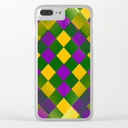 Harlequin Mardi Gras pattern Clear iPhone Case