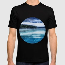 Blue Tranquil Lake Scenery Circle T-shirt