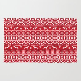 Greyhound fair isle christmas holidays pattern red and white dog gifts Rug