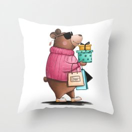 Shopaholic bear Throw Pillow