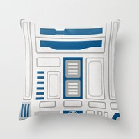 r2d2 Throw Pillows featuring R2D2 by Alison Lee