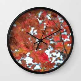 Red Fall Leaves Wall Clock
