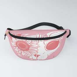 Millennial Pink and Coral Sunflower Sphynx Cat Skull - Hairless Kitty Floral Art Fanny Pack